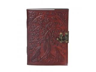 Handmade Cotton Paper Leather Journal WOLF Embossed blank paper leather journal diary