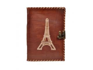 Leather Journal Wholesaler New Design Eiffel Tower Cut Work Leather Journal Notebook