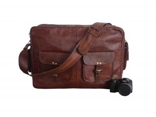 Real Goat Leather Padded Office Briefcase Laptop Mac Book Satchel Messenger Bag