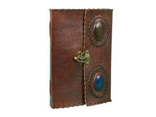 Leather C- Lock Two Stone Craft Paper Blank Diary Journal Handmade Beautiful Eco-friendly Note Book