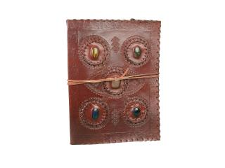 Celic Ancient Five Stones Handmade Writing Journal Big Leather Notebook Dairy Note Book Journal Beautiful Color stone Book