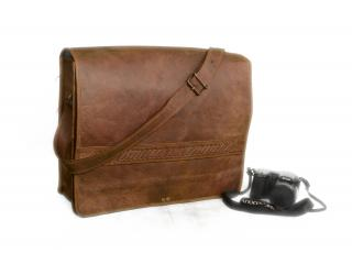 Real Goat Laptop Briefcase Leather Vintage Brown Messenger Shoulder Bag