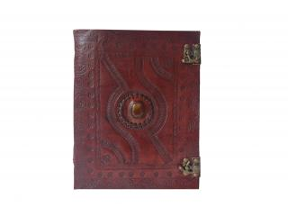 Handmade Leather Bound Journal Leather Notebook Unlined Paper single stone Diary