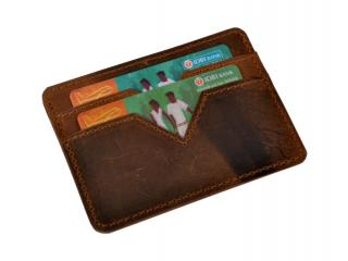 Handmade Hunter Leather Genuine Leather Multi Credit Card Holder Business Men Debit Card Pocket Wallet
