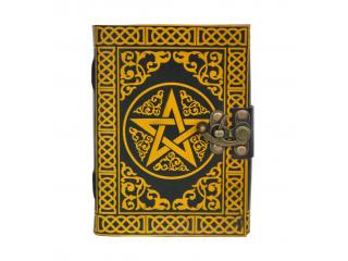 Celtic Pentagram Leather Book Of Shadow Leather Note Book Blank Book Yellow With Black Color Journal India