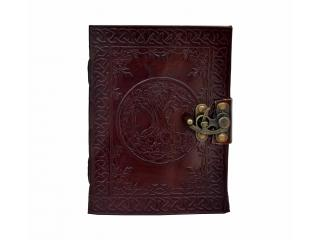 Celtic Tree Of Life Handmade Steampunk Embossed Feather Leather Journal Notebook Sketchbook Book