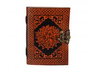 Celtic Tree Of Life Leather Journal Notebook Sketchbook Orange With Black Shadow Handmade Steampunk Embossed Feather