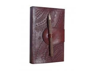 Leather Handmade Embossed Brown Blank Dairy Note Book With Pencil Closer Book