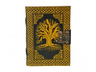 Vintage Leather Journal Tree of Life Journal Leather With C-Lock Notebook Black & Yellow Color Gifts For Men Women