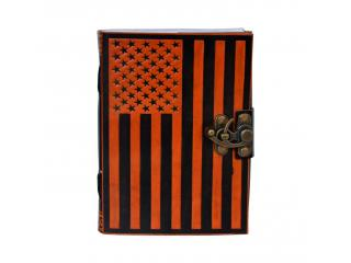 Celtic Shadow USA Flag Book Of Shadow Orange With Black Leather Journal Note Blank Book Writing Instrument