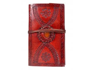 New Handmade Embossed Leather Journal Single Stone Stylish Design Diary & Sketchbook