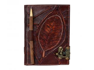 Handmade Antique Leaf With Wooden Pencil Closer Leather Journal Blank Book Sketch Book For Gifts