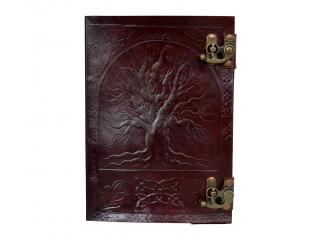 Large Embossed Leather Tree of Life Brown Embossed Journal w/Double Swing Clasps