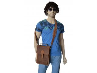 Men's Crazy Horse Leather  Satchel Shoulder Messenger Bags Tablet School Bag