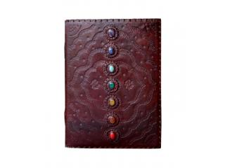 Fashion Leather Store New Design Large Embossed Seven Chakra Medieval Stone Journal Sketchbook