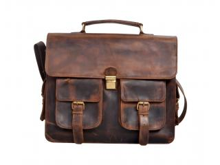 Men's Vintage Genuine Crazy Horse Leather Messenger Bags Shoulder Bag