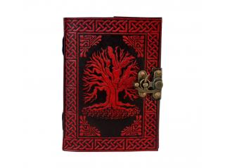 Tree Of Life Red With Black Book Of Shadow Natural Leather Beautiful Leather Dairy Sketch Book