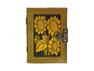 Handmade Leather Note Book Journal Flower Celtic Design Shadow Book Note Book