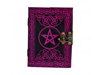 PENTAGRAM LEATHER JOURNAL HANDMADE BLANK BOOK OF SHADOWS W/ LOCK Wicca PENTACLE JOURNAL