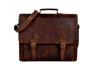Men Crazy Horse Leather Original Briefcase Laptop Messenger Shoulder Bag