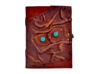 Handmade antique 2 stone  eyes on face leather journal diary and notebook