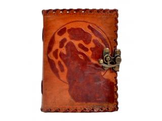 Handmade embossed moon wolf diary leather journal notebook