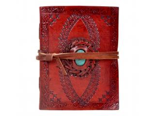 Handmade antique turquoise stone leather journal embossed sketchbook & diary