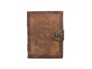 New Handmade Tree of Life Embossed Tanned Leather Journal Notebook With Lock