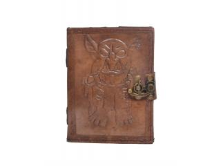 Handmade Charcoal Antique  Embossed Leather note book journal handmade book Embossed Note Book Diary