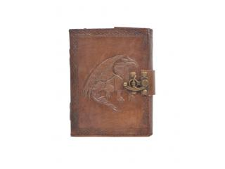 Handmade Antique Design Dragon Embossed Leather Journal Notebook Charcoal Color Journals Notebook & Sketchbook