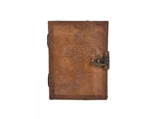 Handmade Antique Design Cross Embossed Leather Journal Charcoal Color Journals Notebook & Sketchbook