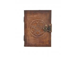 Handmade Antique Design Round Pentagram Embossed Leather Journal Charcoal Color Journals Notebook & Sketchbook