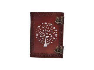 Vintage Genuine New Design Cut Work Leather Journal Embossed Round Tree Of Life Notebook