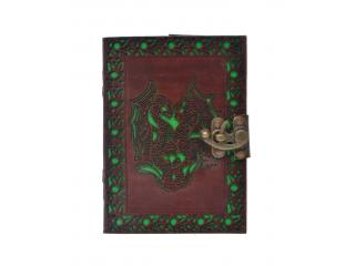 Antique New Cut Work Handmade Double Dragon Design Leather Journal Notebook 120 Pages Blank Unlined Paper Notebook & Sketchbook