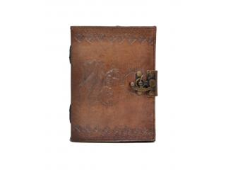 Handmade Leather Journal Embossed New Flying Dragon & Sun Design Notebook