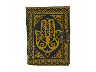 Hamsa Hand Sign Of Protection Leather Bound Book Of Shadow Celtic Embossed Personal Journal Celtic Shadow Book