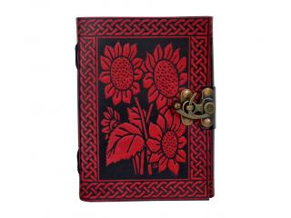 HANDMADE FLOWER DESIGN 120 PAGES LEATHER JOURNAL HAND PANTED COLOR  OFF WHITE PAPER
