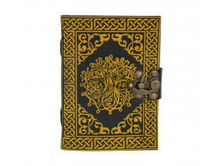 Handmade Leather Sketchbook Journal diary Celtic Tree of Life Book of Shadow Yellow With Black