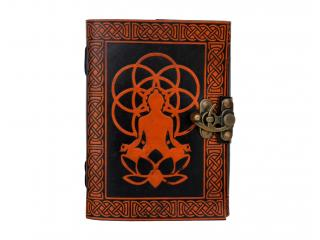 Orange With Black Celtic Design Embossed Leather Meditating Buddha 120 Pages Diary Journal