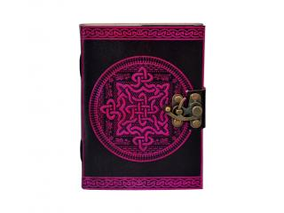 Celtic Knot Leather Journal Book Of Shadow Pink With Black Dairy