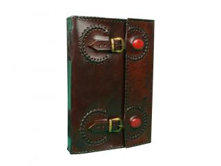 Two Red Stone  Embossed Leather 120 Page Unlined Journal with Clasp C - lock New Handmade Leather Note bok
