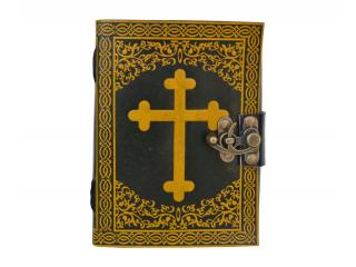 Celtic Cross Leather Journal Note Book Blank Book Yellow With Black Shadow Dairy
