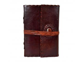 Handmade Cotton Paper Leather Journal Single Stone Leather Note Book Blank Journal