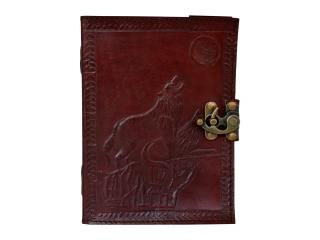 Wolf Howl Fox Leather journal diary PREMIUM PAPER Cotton Handmade India