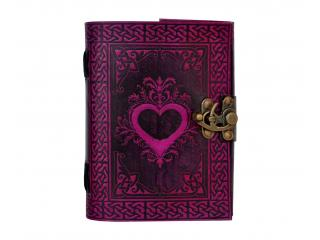 Celtic Shadow Pink With Black Heart Handmade Book Of Shadows Wicca Leather Bound LOVE Journal Pagan