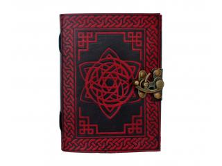 Handmade Celtic Pentagram Leather Journal Book Shadow Red With Black Color Dairy