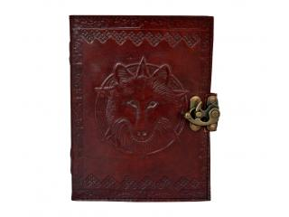Wolf Vintage Buffalo leather journal diary B6 Cotton paper Handmade Howl India