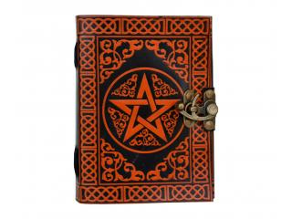 Pentagram Handmade Book of Shadows Genuine Vintage Leather Journal Parchment Paper Diary Notebook Celtic