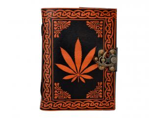 Celtic Hand-Crafted Orange Leaves Leather Journal Diary/Instagram photo album with Handmade Paper