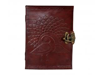 Handmade Medieval Renassiance Book Embossed Peacock Leather Journal Diary Note Book